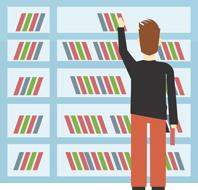 Man and bookshelf cartoon - Contact Campus Bookstore